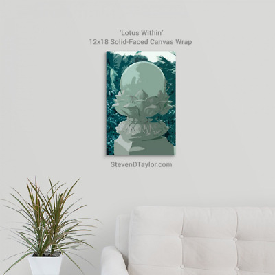 'Lotus Within' solid faced canvas wrap 12x18 on wall - StevenDTaylor.com